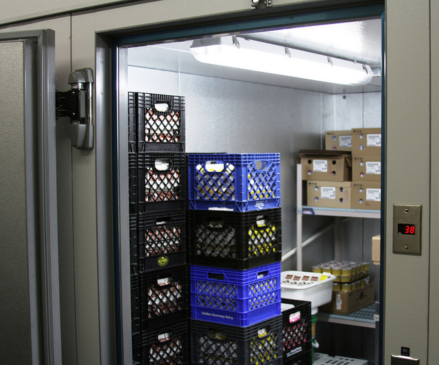 image of a walk-in & reach-in freezer. used to store crates and boxes of food