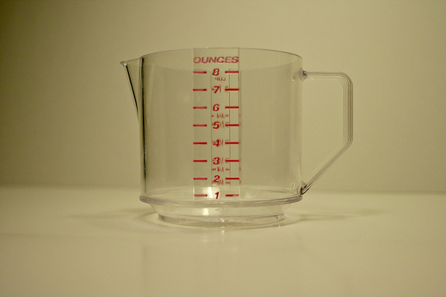 image of a measuring cup with a handle and ounces labeled on the side in red