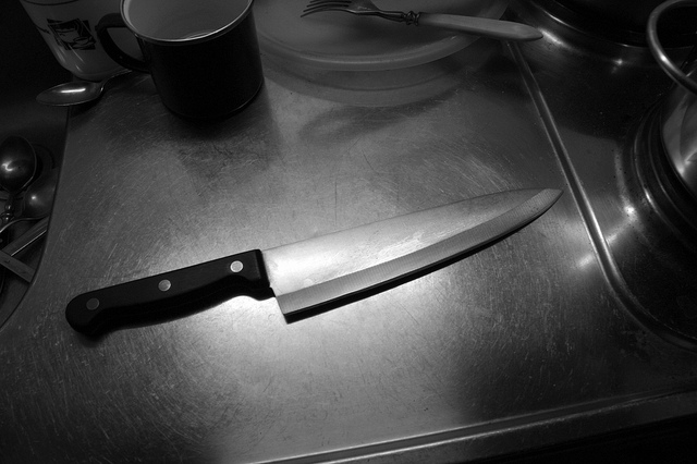 image of a butcher knife with a black handle