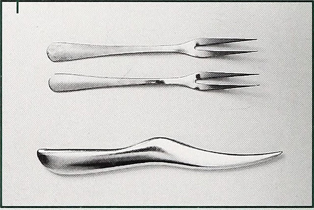 image of two different types of Cook's forks; one type shown has only 2 fork points, while the other type has one, think point