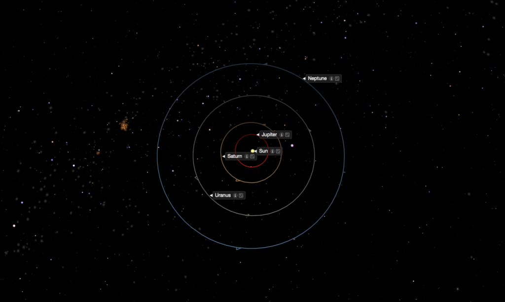 Starry Night image of the outer Solar System with orbits and planets labeled.