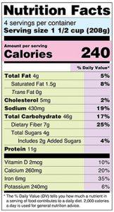 A nutrition label meant to demonstrate the normal nutrients and serving sizes one might see on any pack of food. An old illustration of a basic food label.