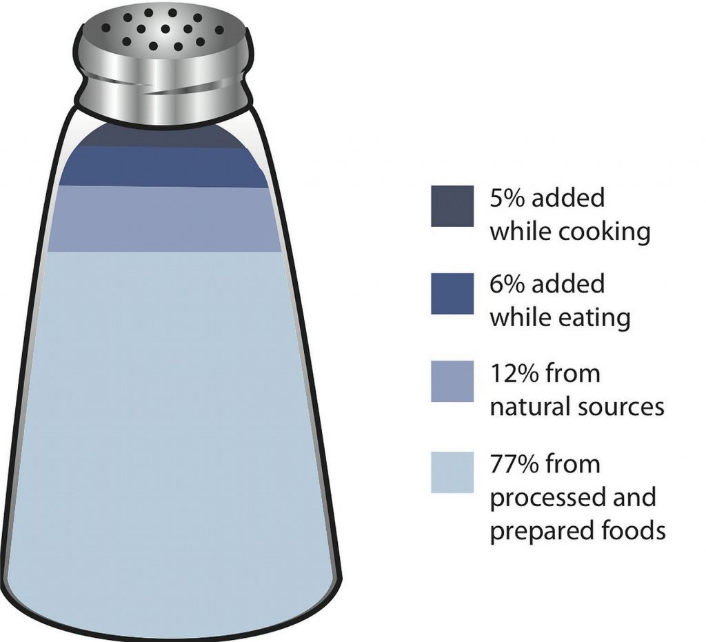 a salt shaker that is sectioned into percentages that show sodium intake