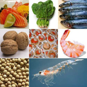 Types of food shown: mackerel, salmon, spinach, walnuts, shrimp, oysters, soybeans.