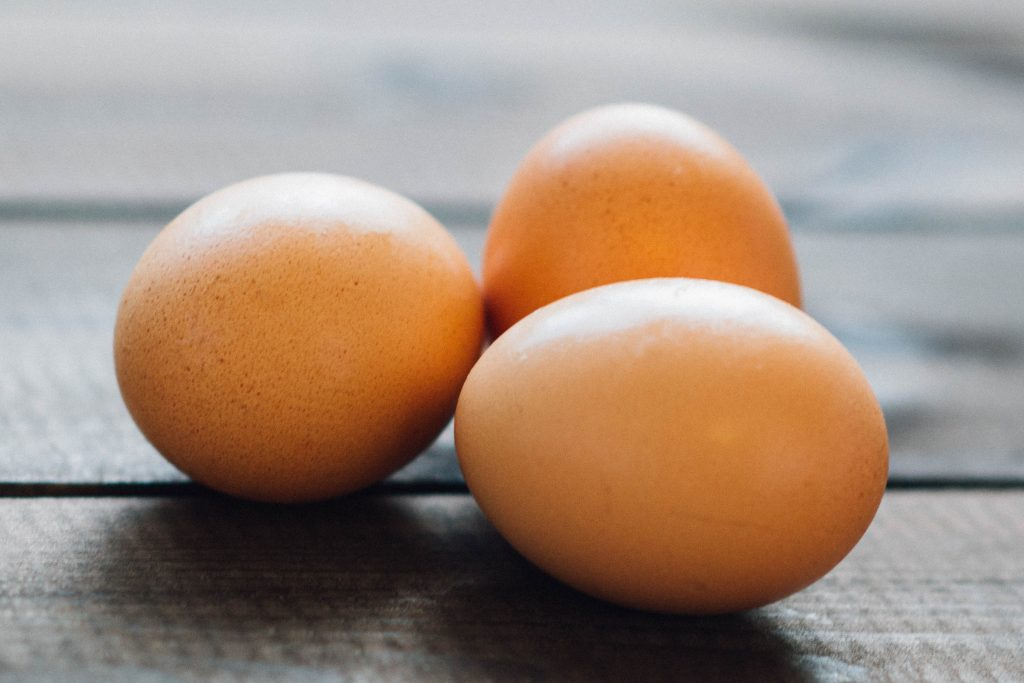 3 brown eggs