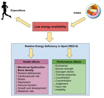 Flow chart shows health and performance effects from relative energy deficiency in sport.