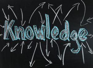 A blackboard with knowledge written in chalk with arrows radiating from it