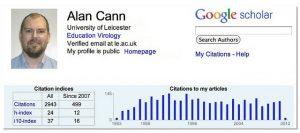Alan Cann's profile on Google scholar
