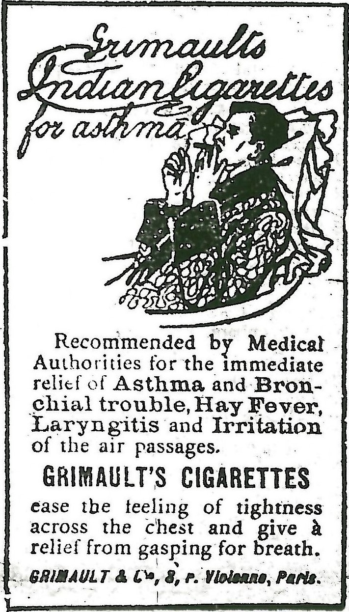 An old poster for Grimault's Indian Cigarettes for asthma