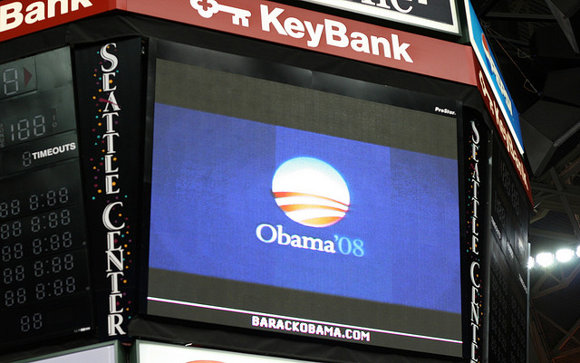 A prompter at stadium with Obama'08 logo