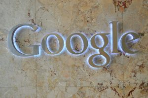 A sign of the Google search engine logo.