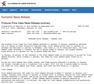 Screenshot if the website for the US Bureau of Statistics