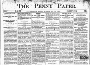 The image depicts the front page of the Cincinnati Penny Paper from Monday, May 16, 1881. It features six vertical columns of text and is titled simply The Penny Paper. This demonstrates early newspaper design, which is all text cramming as much information as possible in a relatively small page as penny papers were typically smaller than other newspapers at the time.