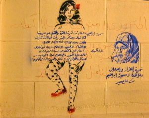 The image depicts one woman from head to toe. Her torso is covered in Arabic text. She is wearing red shoes and her hair is uncovered. Another woman is depicted head and shoulders only. Her hair is covered. The text is not legible, but it suggests there are women of different cultural backgrounds involved in Egypt's revolution for different purposes.
