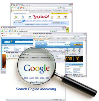 A screenshot of Google, Yahoo, AOL and MSN homepages with their Logo as the main focus.