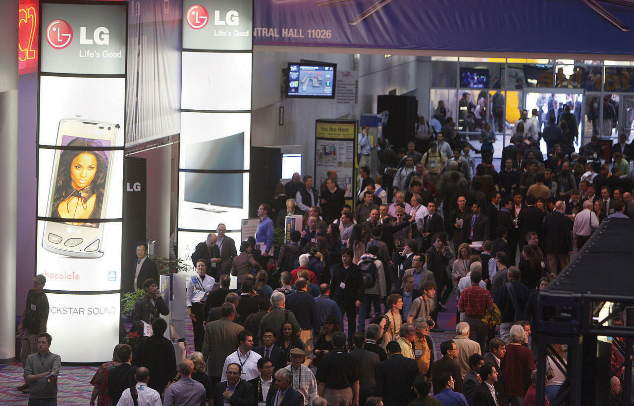 LG at the Consumer Electronics Show with a crowd around its booth