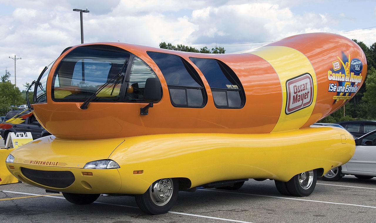 Oscar Mayer promotional car shaped as a hot dog.