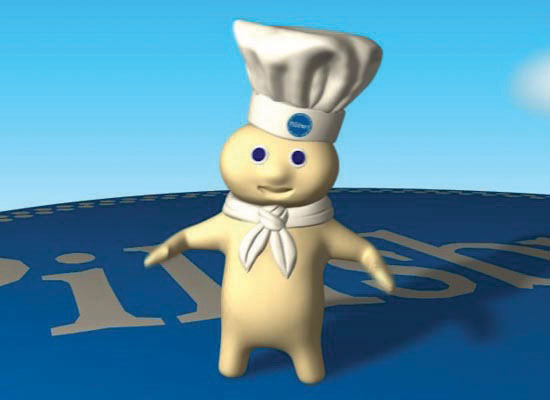 A screenshot of an ad showing the 3d rendered DoughBoy from Pillsbury Doughboy