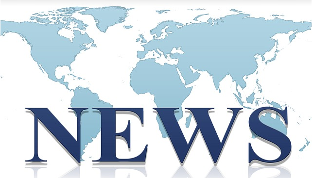 A map of the world with the word News in front.