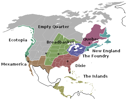 North American map broken into the nine nations