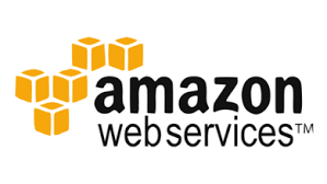 Amazon Web services logo, with yellow boxes on the left of the text.