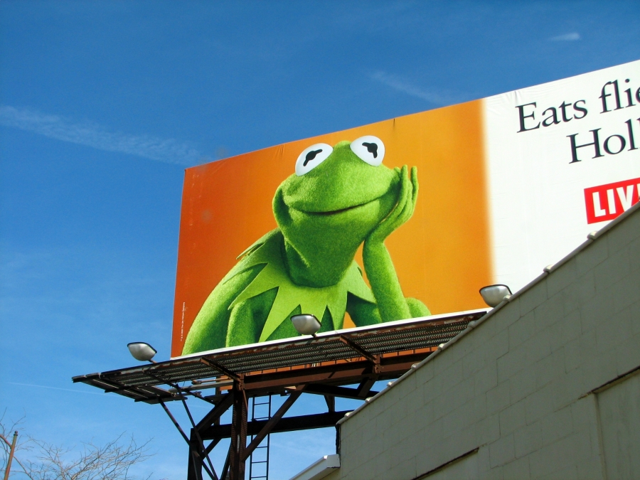A Kermit the Frog billboard.