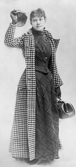 A black and white picture of Nellie Bly standing.