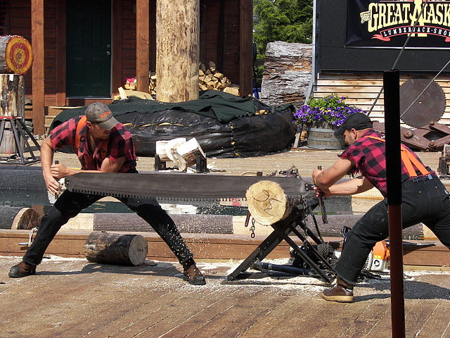 Image of two men at a crosscut saw event sawing through a piece of wood.