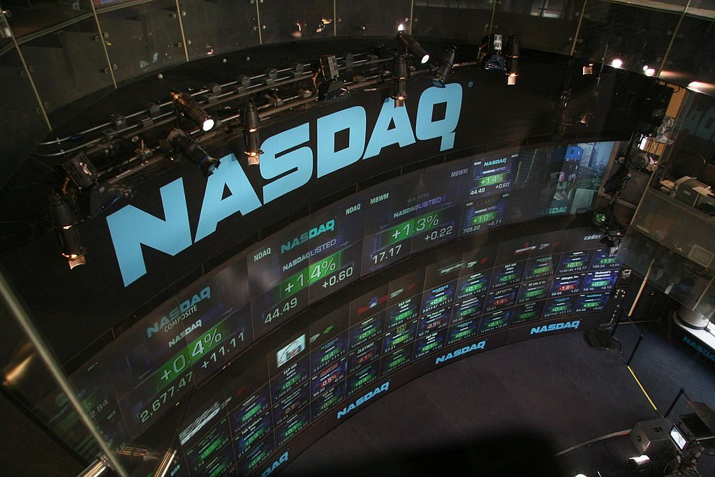 photo of the NASDAQ wall of monitors