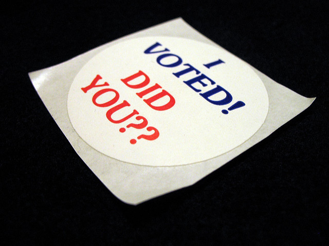 "A lapel sticker with the message, ""I voted. Did you??"""