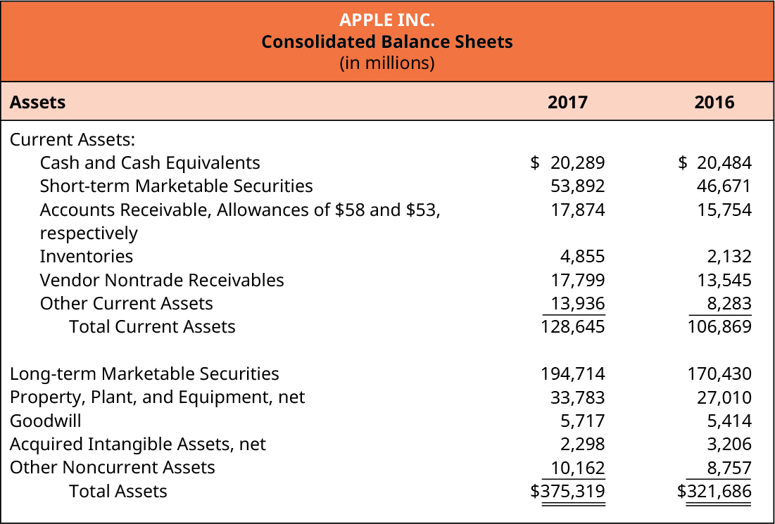 Apple Inc. Consolidated Balance Sheets (in millions). Assets for 2017 and 2016, respectively.