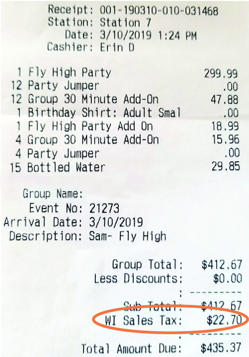 A receipt from a purchase shows sales tax as part of the cost.