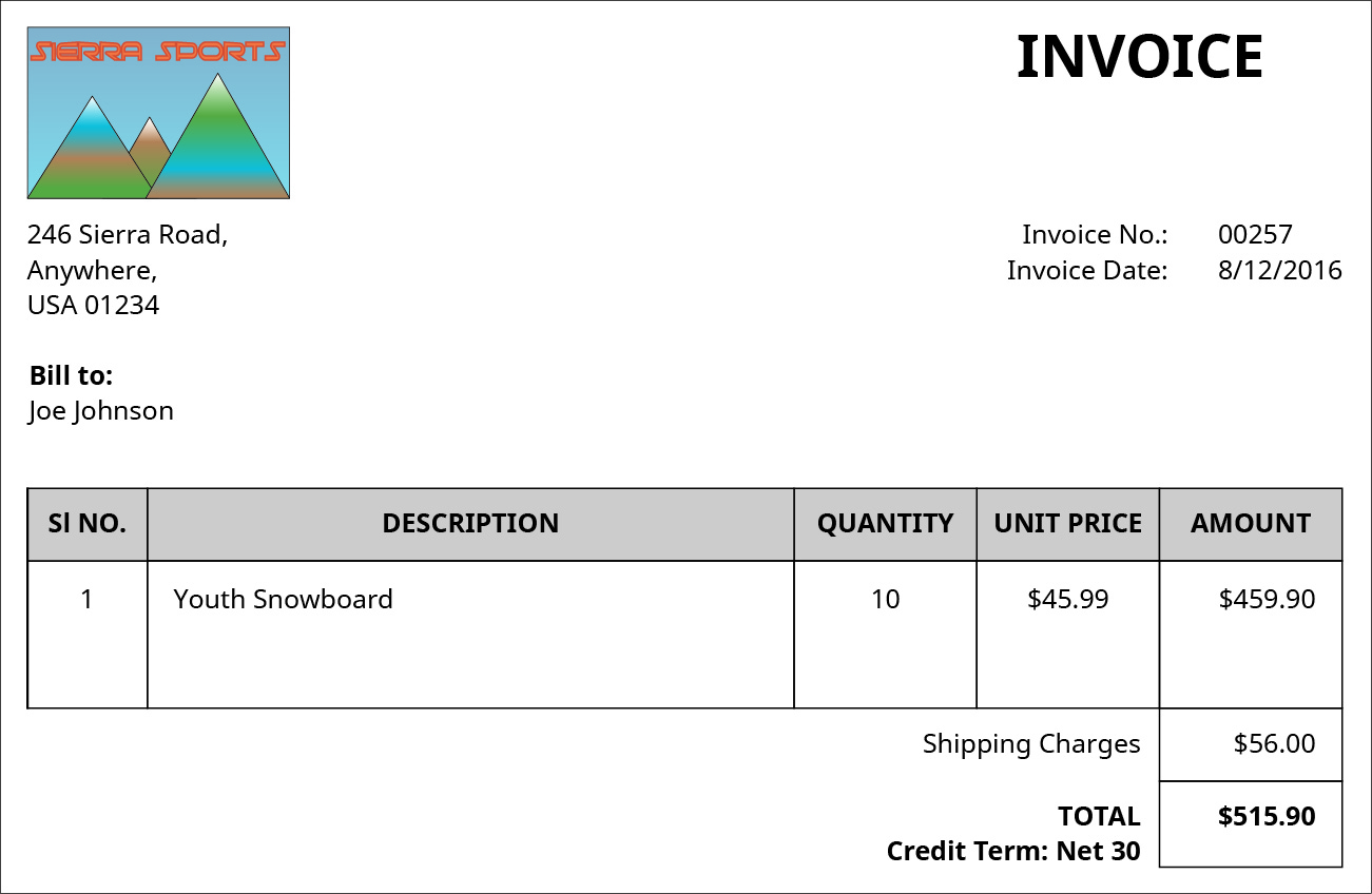 Invoice document from the company Sierra Sports, located on 246 Sierra Road, Anywhere, USA 01234.