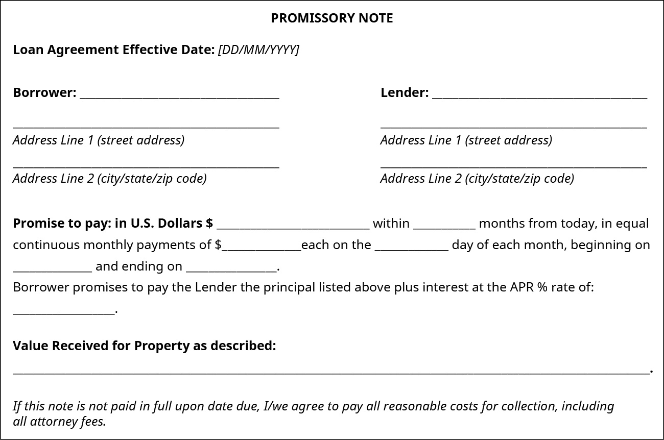 Picture of a Promissory note.