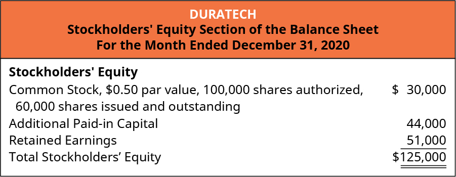 Duratech, Stockholders' Equity Section of the Balance Sheet, For the Month Ended December 31, 2020.