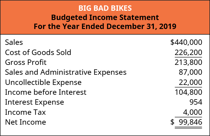 Big Bad Bikes, Budgeted Income Statement, For the Year Ending December 31, 2019.