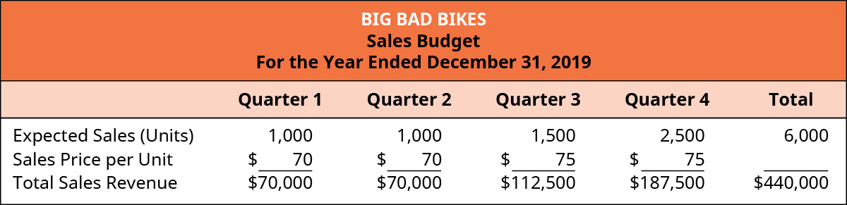 Big Bad Bikes, Sales budget, For the Year Ending December 31, 2019.