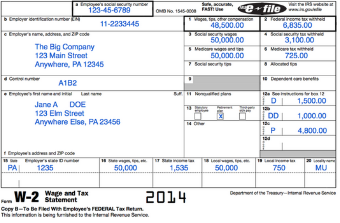 An image of a W2 Wage and Tax Statement Document. This document shows the employee's social security number, wages, tips, other compensation, and federal income tax withheld as fields that are focused on within the document.