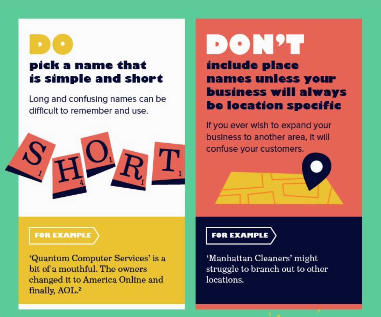 Do's and don'ts for picking a name.