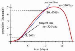 A graph is shown which increases at first and then decreases.