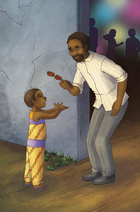 Papa giving Burdu the stick of peppery suya