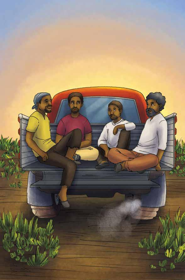 Papa sitting in a truck bed with three of his friends
