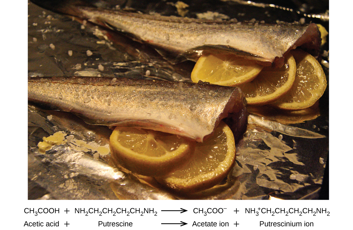 An image is shown of two fish with heads removed and skin on with lemon slices placed in the body cavity.
