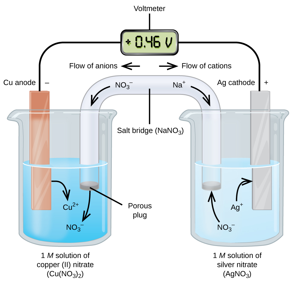 """This figure contains a diagram of an electrochemical cell. Two beakers are shown. Each is just over half full. The beaker on the left contains a blue solution and is labeled below as """"1 M solution of copper (II) nitrate ( C u ( N O subscript 3 ) subscript 2 )."""" The beaker on the right contains a colorless solution and is labeled below as """"1 M solution of silver nitrate ( A g N O subscript 3 )."""" A glass tube in the shape of an inverted U connects the two beakers at the center of the diagram. The tube contents are colorless. The ends of the tubes are beneath the surface of the solutions in the beakers and a small grey plug is present at each end of the tube. The plug in the left beaker is labeled """"Porous plug."""" At the center of the diagram, the tube is labeled """"Salt bridge ( N a N O subscript 3 ). Each beaker shows a metal strip partially submerged in the liquid. The beaker on the left has an orange brown strip that is labeled """"C u anode negative"""" at the top. The beaker on the right has a silver strip that is labeled """"A g cathode positive"""" at the top. A wire extends from the top of each of these strips to a rectangular digital readout indicating a reading of positive 0.46 V that is labeled """"Voltmeter."""" An arrow points toward the voltmeter from the left which is labeled """"Flow of electrons."""" Similarly, an arrow points away from the voltmeter to the right which is also labeled """"Flow of electrons."""" A curved arrow extends from the C u strip into the surrounding solution. The tip of this arrow is labeled """"C u superscript 2 plus."""" A curved arrow extends from the salt bridge into the beaker on the left into the blue solution. The tip of this arrow is labeled """"N O subscript 3 superscript negative."""" A curved arrow extends from the solution in the beaker on the right to the A g strip. The base of this arrow is labeled """"A g superscript plus."""" A curved arrow extends from the colorless solution to salt bridge in the beaker on the right. The base of this arrow is labeled """"N O subscr"""