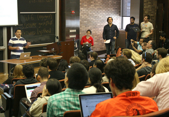A room full of students participating in the fall 2012 hackNY student hackathon