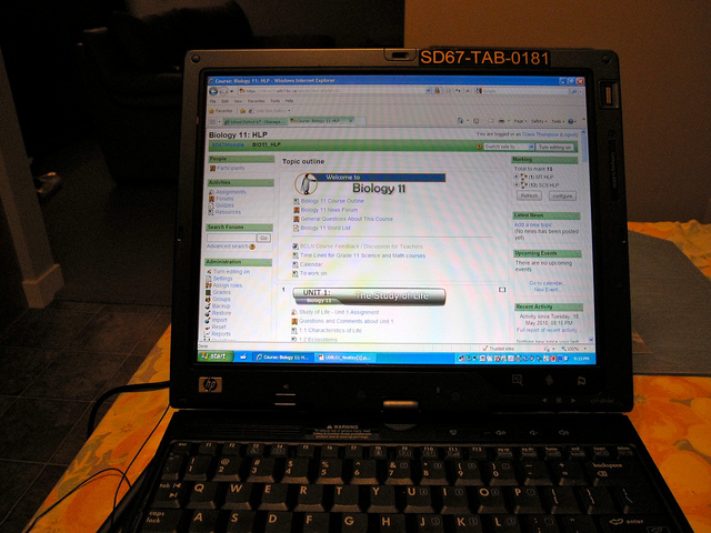A laptop being utilized for an online course