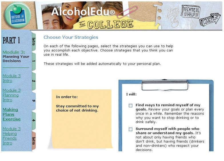 The AlocholEdu Online Alcohol Awareness Program from Outside the Classroom (website screen shot)