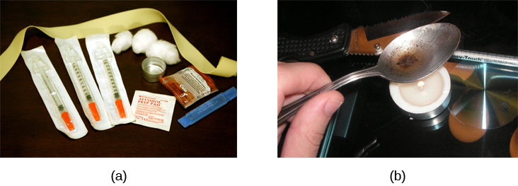 Photograph A shows various paraphernalia spread out on a black surface. The items include a tourniquet, three syringes of varying widths, three cotton-balls, a tiny cooking vessel, a condom, a capsule of sterile water, and an alcohol swab. Photograph B shows a hand holding a spoon containing heroin tar above a small candle.